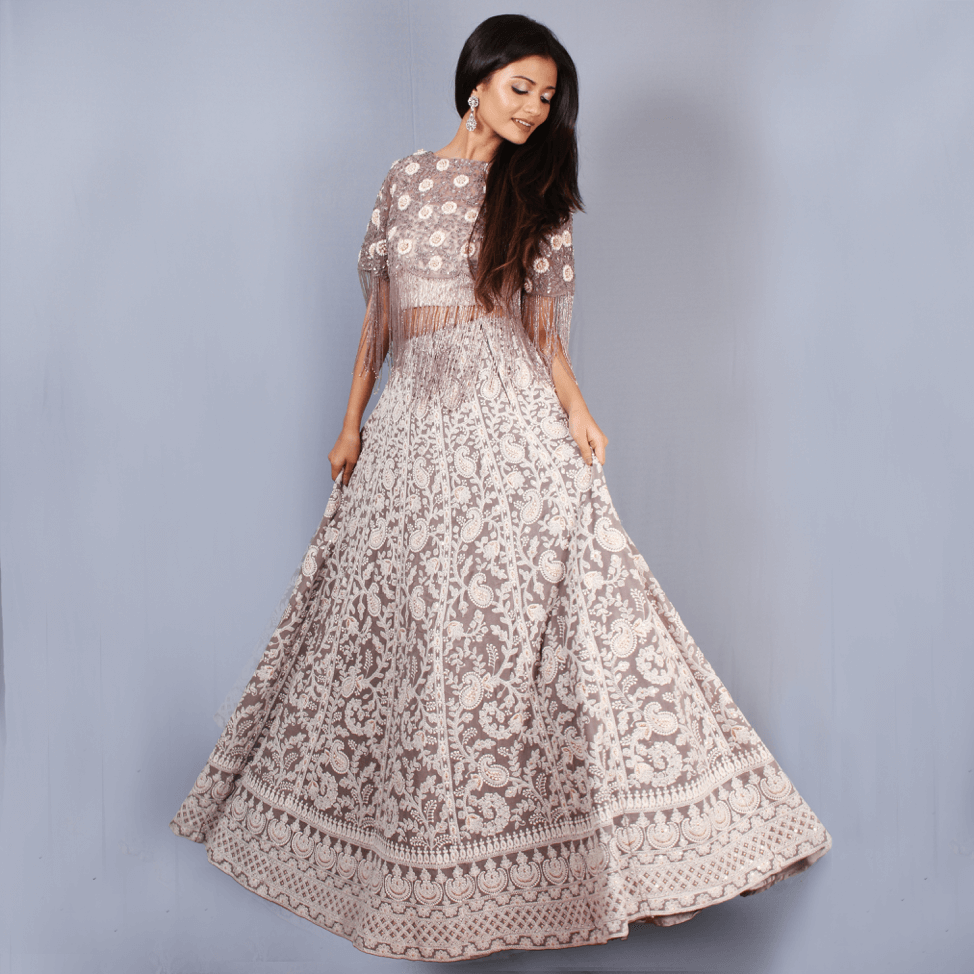 Off-white and grey embroidered lehenga