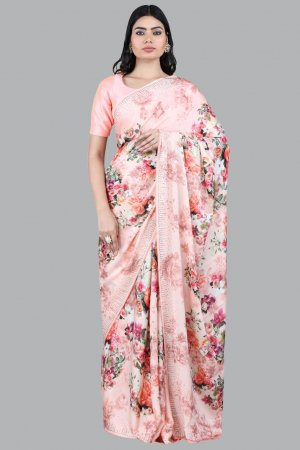 Orange Floral Print Saree Online