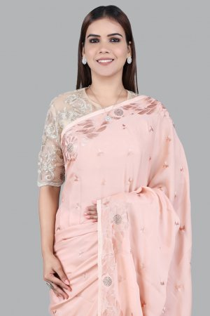Soft Peach Embellished Sarees