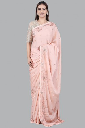 Soft Peach Embellished Saree Collection
