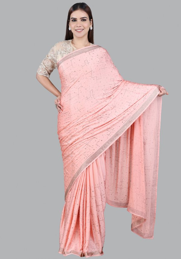 Peach Embellished Saree Collection