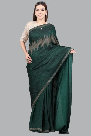 Deep green Embellished Saree Collection