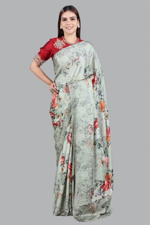 Olive Green Printed Satin Saree For Ladies