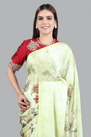 Lime yellow satin Saree Collection
