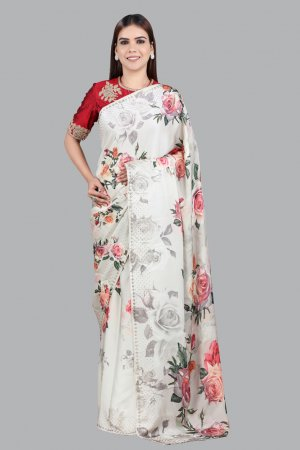 Cream Printed Embellished Saree For Ladies