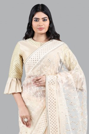 Pastel Peach Net Embroidered Saree For Ladies