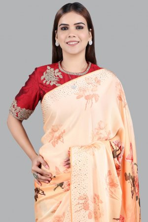 Orange Printed Embellished Saree Collection