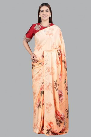 Orange Printed Embellished saree For ladies