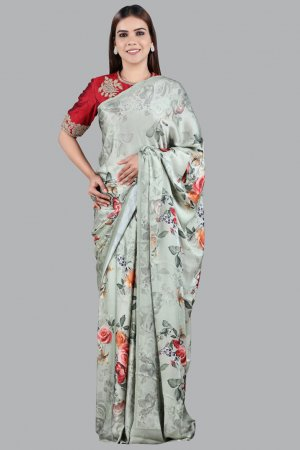 Olive Green Embellished Saree For ladies