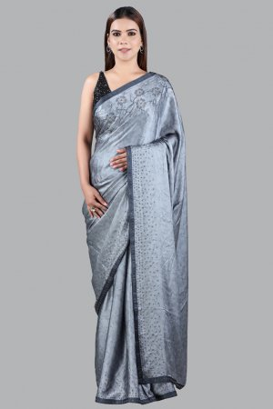 Printed Satin Grey Saree For Ladies