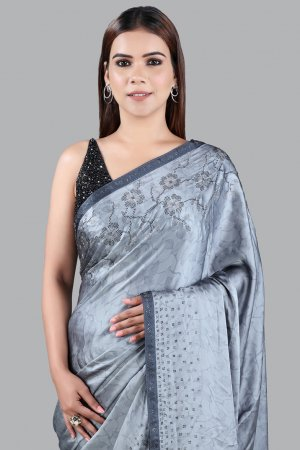 Grey Abstract Printed Saree Online