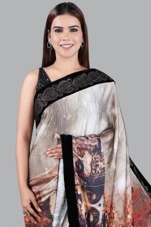 Gold With Black Border Printed Saree