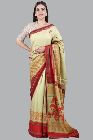 Olive Green Woven Silk Saree Online