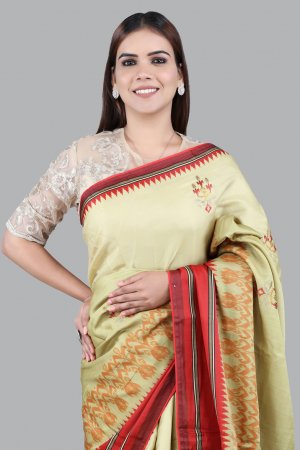 Olive Green Woven Silk Sarees