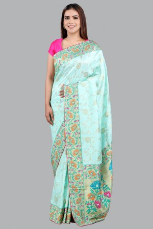 Green Chanderi Saree For Women