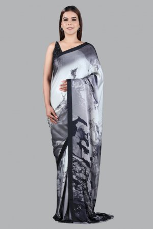 Black And Grey Colour Printed Saree