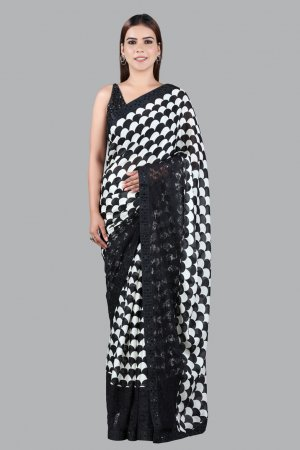 Black And White Printed Saree