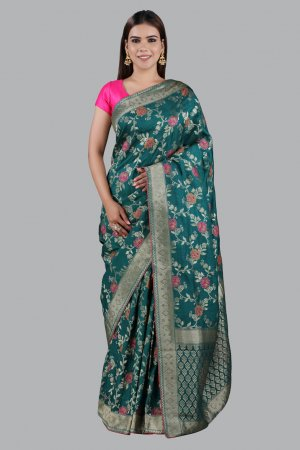 Dark Green Brocade Sarees