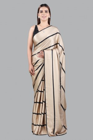 Gold And Black Embellished Saree