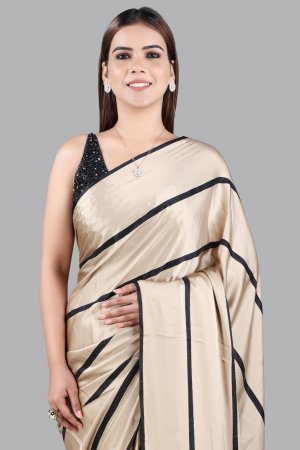Gold Satin Stripe Pattern Saree