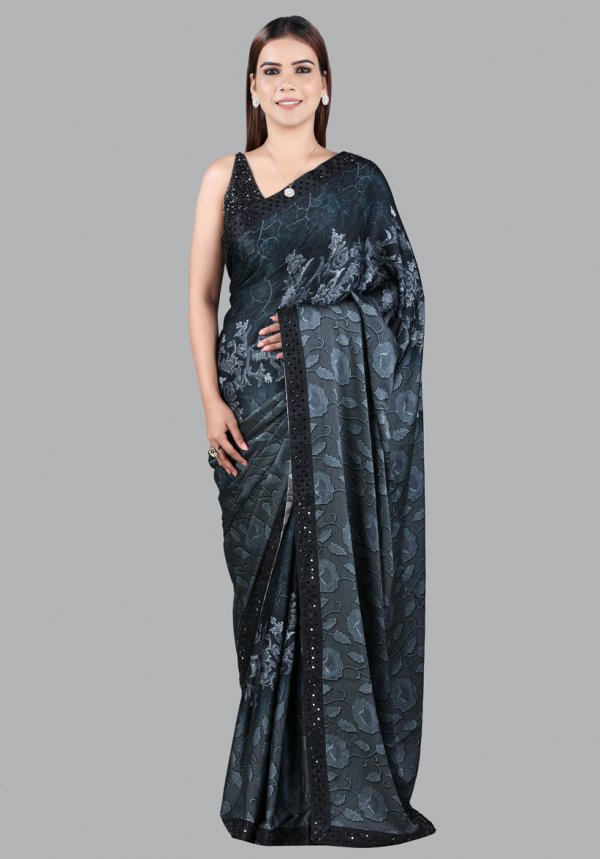Floral Grey Printed Saree For Women