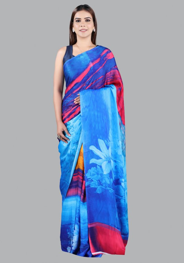 Blue Abstract Print Saree Online