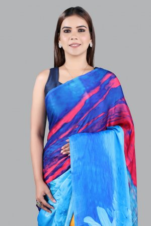 Blue Satin Saree For Women