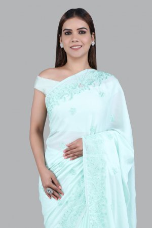Mint Green Georgette Saree For Women