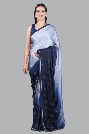 Grey Satin Saree For Women