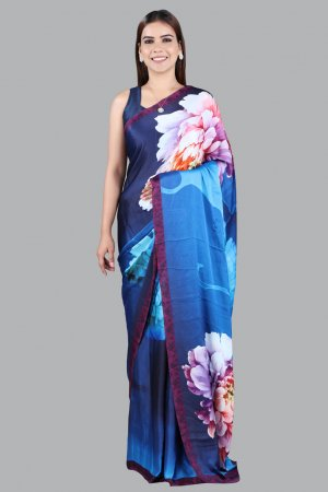 Printed Satin Saree Collection