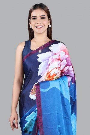 Blue Colour Satin Saree For Women