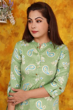 Green Embellished Kurta Set