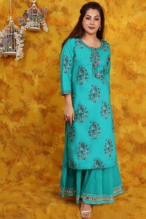 Green Cotton Printed Kurta For Ladies