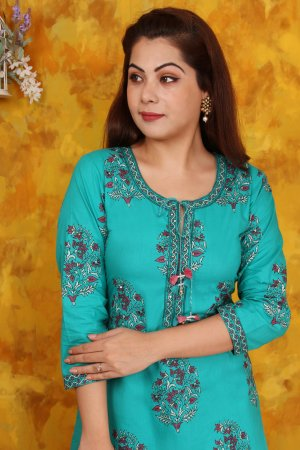 Green Printed Kurta Set Online