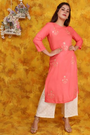 Peach Embroidered Kurti and Palazzo Set Online