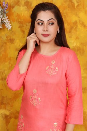 Peach Embroidered Kurta and Palazzo Set Online