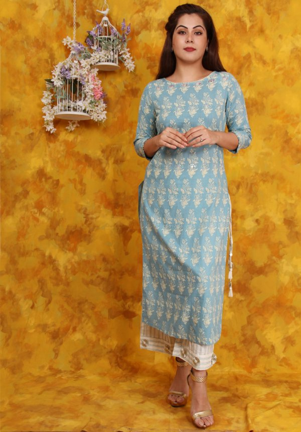 Light Blue Block Print Kurtis Set