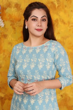 Light Blue Print Kurta Set