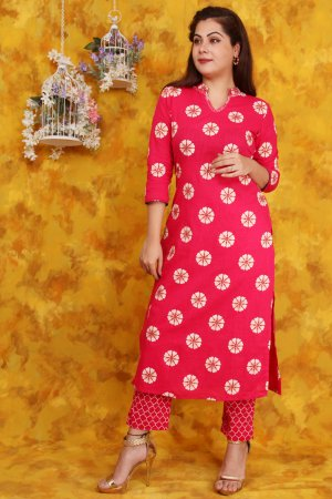Cherry Pink Cotton Printed Kurta Set Online