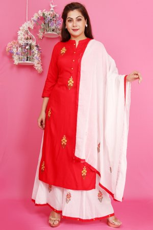 Red And White Gharara Set