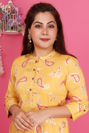 Yellow Print Kurta Set