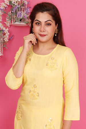 Lemon Yellow Embroidered Kurtis Set