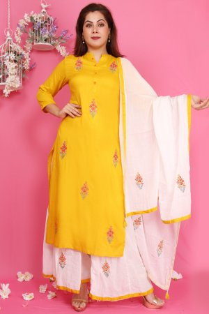 Yellow Embroidered Kurta Set Online
