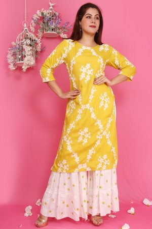 Greenish Yellow Embroidered Kurtis Set