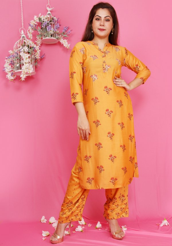 Yellow Floral Kurta Set