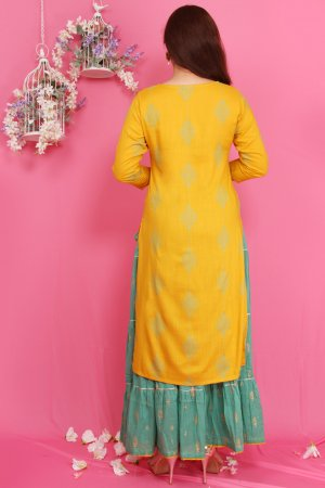 Yellow Print Kurti Set