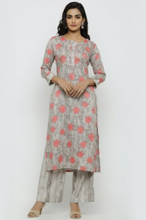 Water Wings Grey Kurta Set