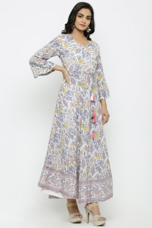 Monarch White Kalamkari Kurti