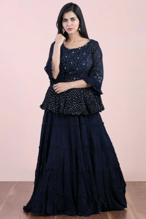 Navy Blue Layered Salwar Kameez