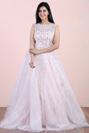 Pastel Pink Embellished Gown